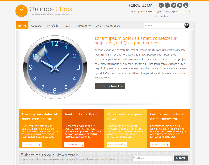 orange clock Theme